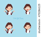 girl expression faces | Shutterstock .eps vector #470286125