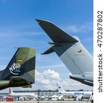 Small photo of BERLIN, GERMANY - JUNE 03, 2016: Civil and military aircraft on the airfield. Exhibition ILA Berlin Air Show 2016