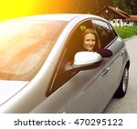 girl sitting in the car and... | Shutterstock . vector #470295122