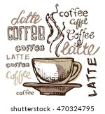 coffee collection   hand drawn... | Shutterstock .eps vector #470324795