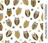 cartoon owl seamless texture ... | Shutterstock .eps vector #470340062