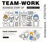 modern team work pack. thin... | Shutterstock .eps vector #470374196