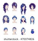 set of bold hair colors female...   Shutterstock .eps vector #470374826