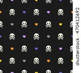 halloween seamless pattern with ... | Shutterstock .eps vector #470412692