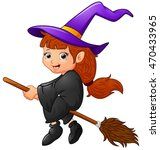 cartoon witch flying | Shutterstock .eps vector #470433965