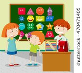 students learning shapes in... | Shutterstock .eps vector #470471405
