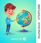 cute boy. back to school... | Shutterstock .eps vector #470491388