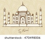 hand drawn illustration of taj... | Shutterstock . vector #470498006