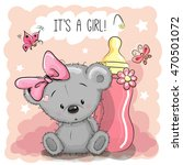 cute cartoon teddy bear girl... | Shutterstock .eps vector #470501072