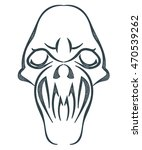 sketch black skull isolated on... | Shutterstock .eps vector #470539262
