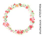 hand drawn watercolor wreath... | Shutterstock . vector #470539406