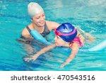 swimming class   little girl... | Shutterstock . vector #470543516