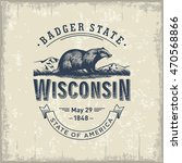 wisconsin  stylized emblem of... | Shutterstock .eps vector #470568866