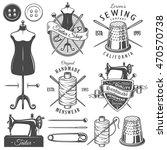 set of vintage monochrome... | Shutterstock .eps vector #470570738