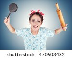 crazy housewife with rolling... | Shutterstock . vector #470603432