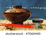 traditional japanese bowl for rice or soup - stock photo