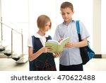 cute schoolkids on light... | Shutterstock . vector #470622488