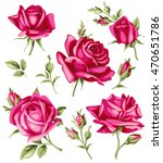 vintage red rose and bud set.... | Shutterstock .eps vector #470651786