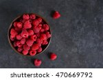 Fresh  Juicy Raspberries In A...