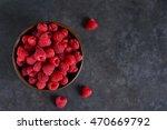 Fresh  Juicy Raspberries In A...