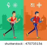 flat fitness run vector people...