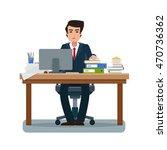 businessman in workplace in... | Shutterstock .eps vector #470736362