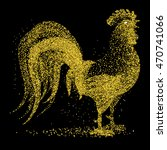 Golden Glitter Rooster On Blac...