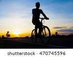 silhouette men cycling on road... | Shutterstock . vector #470745596