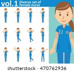 diverse set of female nurse on... | Shutterstock .eps vector #470762936