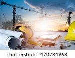 desk of civil engineer. ...   Shutterstock . vector #470784968