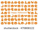 card of halloween icons. happy... | Shutterstock .eps vector #470808122