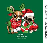 christmas card. puppies pug and ... | Shutterstock .eps vector #470844392