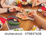 people eat pizza at festive... | Shutterstock . vector #470847638