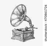 hand drawn vintage gramophone.... | Shutterstock .eps vector #470861726