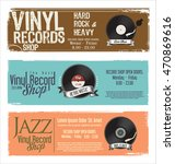 vinyl record shop retro grunge... | Shutterstock .eps vector #470869616