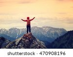 cheering woman hiker open arms... | Shutterstock . vector #470908196