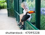 a tucan and a girl   focus in...   Shutterstock . vector #47095228