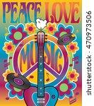 Peace Love And Music Retro...
