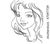 cute girl vector portrait | Shutterstock .eps vector #47097739