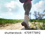 female hiker going up the hill... | Shutterstock . vector #470977892