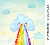 where does the rainbow  cute...   Shutterstock .eps vector #470989166