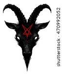 satan goat head | Shutterstock . vector #470992052