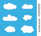 cloud icons set. white outline... | Shutterstock . vector #470995205