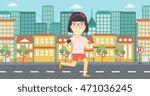 an asian woman running with... | Shutterstock .eps vector #471036245