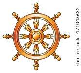 golden dharma wheel. buddhism... | Shutterstock .eps vector #471048632