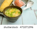corn egg soup flavored with soy ...