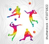 vector volleyball silhouettes... | Shutterstock .eps vector #471071822