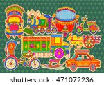 Vector design of transportation of India in Indian art style | Shutterstock vector #471072236