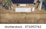 top view desk | Shutterstock . vector #471092762