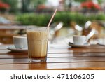 glass of cold iced latte on... | Shutterstock . vector #471106205